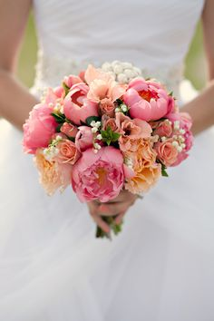 Coral peonies wedding flowers