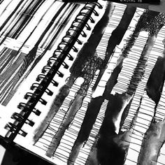 Textiles Sketchbook with mark making experiments; surface pattern development; art portfolio // Elizabeth Gracie
