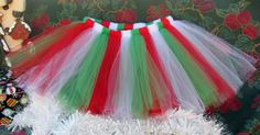 Red White & Green Christmas Tutu Sizes 0 Months by TutuLulus