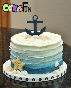 Nautical themed baby shower cake