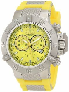 Invicta Men's 1377 Subaqua Noma III Chronograph Yellow Dial Yellow Polyurethane Watch Invicta. $273.89. Flame fusion crystal; stainless steel case; yellow polyurethane strap with textured stainless inserts. Water-resistant to 500 M (1640 feet). Yellow dial with yellow hands and hour markers; luminous; unidirectional bezel; screw-down pushers and crown with protective clasp; tachymeter scale on dial. Chronograph functions with 60 second, 30 minute and 1/10th of a sec...