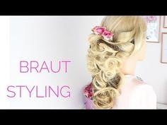 Brautfrisur - Einfache Hochzeitsfrisur halb offen/ halb hochgesteckt - YouTube