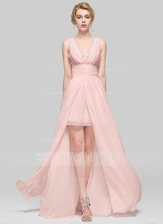 [US$ 107.49] A-Line/Princess Scoop Neck Floor-Length Chiffon Bridesmaid Dress With Ruffle Lace