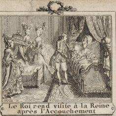 Louis XVI visits Marie Antoinette after the delivery of their daughter, Marie-Therese-Charlotte de France, Madame Royale, 1778, French school