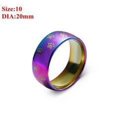 New Custom Stainless Steel Rainbow Cat Paw Print Ring