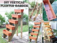Use prefab staircase risers to make a vertical planter