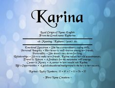 Karina name meaning.I think I found my next baby's name. Name Quotes, Personal Integrity, Greek Names, Do You Know Me, Unique Baby Names, Names With Meaning, Baby Girl Names, Coping Skills, English Vocabulary