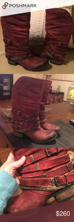 Steve Madden Freebird distressed boots Absolutely gorgeous Steve Madden distressed boots in a beautiful red color. I don't even want to sell these. The right offer might change my mind though. Steve Madden Shoes Combat & Moto Boots