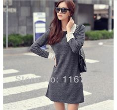 2014 Fashion Vintage Slim Plus Size Turn-down Collar Long Sleeve Lace Decorated Autumn/Winter Dress for Women $20.69