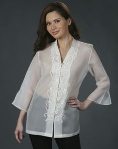 modern barong blouse for women - Yahoo Image Search Results Filipino Fashion, Asian Fashion, Barong Tagalog For Women, Modern Filipiniana Dress, Traditional Gowns, Plus Size Formal, Evolution Of Fashion, Beautiful Gowns, Elegant Dresses