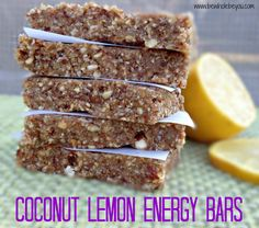 Coconut Lemon Energy Bars. Only 6 ingredients! No refined sugar. No need to buy store bought bars anymore!