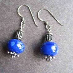 Bright blue lampwork earrings