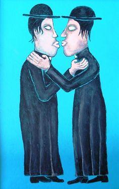 Titolo:clerical kiss  Misure:40x30  Tecnica:Olio su masonite  Anno:2009