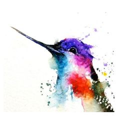 HUMMINGBIRD Watercolor Art Print, Hummingbird Painting by Dean Crouser ❤ liked on Polyvore featuring home, home decor, wall art, watercolor bird paintings, bird wall art, bright color paintings, watercolour painting and textured painting