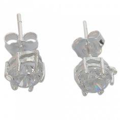 925 Sterling Silver Big Shining Zircon Stud Earrings | favwish - Jewelry on ArtFire