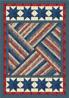 Strip Triangle Tango - Blue xQuilt Jubilee by Lisa Sutherland - Patriotic QuiltsI would do a variation of this with the baby girl strips I have a do something cute on the ends like hearts or flowers. Flag Quilt, Patriotic Quilts, Star Quilt Blocks, Star Quilts, Block Quilt, Jellyroll Quilts, Scrappy Quilts, Kid Quilts, Easy Quilts