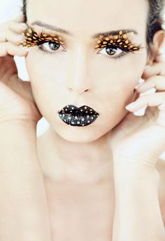 black lips and feather lashes
