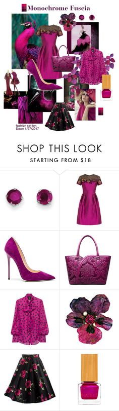 """Monochrome in Fuscia"" by dawn-lindenberg ❤ liked on Polyvore featuring Kevin Jewelers, Temperley London, Jimmy Choo, D&G and Habit Cosmetics"