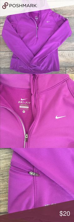 Nike Dri Fit 1/2 ZIP Pullover Purple Size Medium Nike Dri Fit 1/2 Zip Purple Pullover Size Medium. Perfect for spring running as it wicks away sweat and helps you to stay warm and dry on chilly morning runs. Measures 16.5 inches across chest when measured flat and is 24 inches long. Nike Tops Sweatshirts & Hoodies