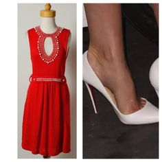 Stunning Beaded Red Nanette Lepore Keyhole Dress Absolutely stunning belted red beaded keyhole Nanette Lepore dress.  Guaranteed to turn heads.  No stains, pulls or odors. Like new condition. Nanette Lepore Dresses