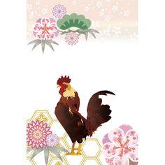鶏の和風/年賀状デザイン無料イラスト