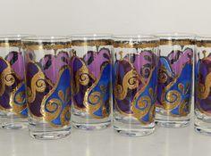 Vintage Georges Briard Cocktail Glasses Tumblers Monaco Blue Pageant