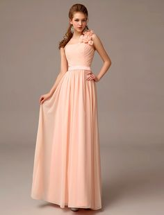 Wishesbridal Pink One Shoulder Floor Length #Chiffon A Line #Bridesmaid Dress B1wb011