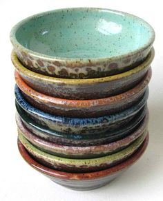 "This stack of eight colorful prep bowls is made to order from scratch on my potter's wheel. They are food and dishwasher safe. They are the perfect size for prepping ingredients while cooking. You could also use them for holding jewelry or for a tealight. They're also good for portion control, perfect for a single scoop of ice cream. Since each one is made by hand each bowl is unique. These would make a great hostess gift! Each one is approximately 4"" x 1 1/2"" Please allow 2 to 3 weeks to…"