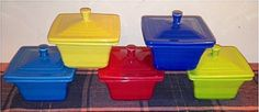 Fiesta® Belk Boxes in Peacock, Sunflower, Scarlet, Lapis and Lemongrass. Made by Homer Laughlin China Company