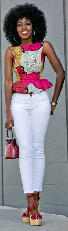 Printed Peplum Blouse + White Ankle Length Jeans / Fashion by Style Pantry