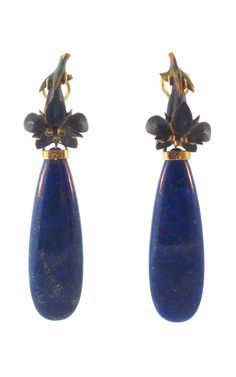 Antique Flower and Lapis Lazuli Earrings by Silvia Furmanovich for Preorder on Moda Operandi