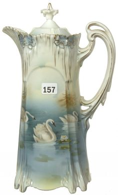 10 1/2 UNMARKED PRUSSIA ICICLE MOLD CHOCOLATE POT SWAN SCENIC DECOR - EXTRA NICE