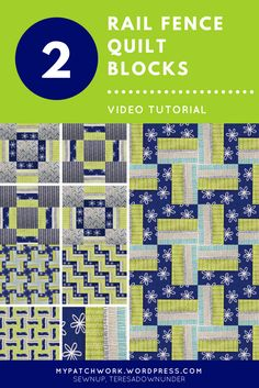 Video tutorial: 2 rail fence quilt blocks – Sewn Up Quilting For Beginners, Quilting Tutorials, Sewing For Beginners, Jellyroll Quilts, Easy Quilts, Half Square Triangle Quilts, Square Quilt, Modern Quilt Patterns, Quilting Patterns
