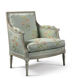 A Louis XVI carved and white-painted marquise chair upholstered in blue silk with woven floral pattern, c. French Furniture, Antique Furniture, Cool Furniture, Settee Sofa, Upholstered Chairs, Louis Xvi, French Country House, Soft Furnishings, Interior Architecture