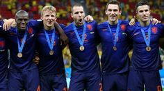 Netherlands celebrate its third place Girls Soccer, Football Soccer, World Cup 2014, Fifa World Cup, Ron Vlaar, Van Persie, Poses, Celebrities, Image