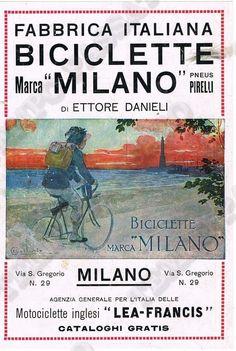 """Pubblicità Fabbrica biciclette """"Milano"""",  - Bersagliere, anni '30 -  Ballerio"""