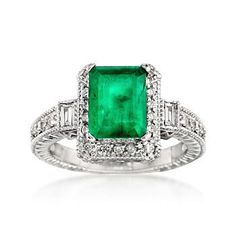 Ross-Simons - 2.00 Carat Emerald and .50 ct. t.w. Diamond Ring in 14kt White Gold - #663704