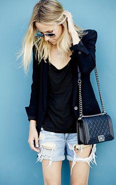 Rag & Bone Blue Denim Loose Fit Shredded Boyfriend Shorts by Damsel In Dior- my fave shorts! Fashion Killa, Fashion Trends, Fashion Bloggers, Style Fashion, Vogue, Boyfriend Jeans, What To Wear, Style Me, Cool Outfits