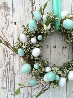 Aqua Blue Easter Egg Wreath Spring Egg Wreath by marigoldsdesigns beautiful colours