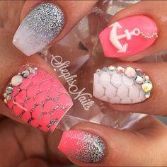 Pink and Silver Nail Art Design