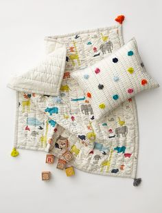 Noah's Ark Play Blanket & Pom Pom Pillow - Petit Pehr