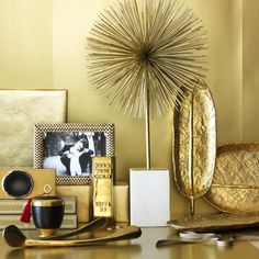 Gold Feather Tray, Gold, Large