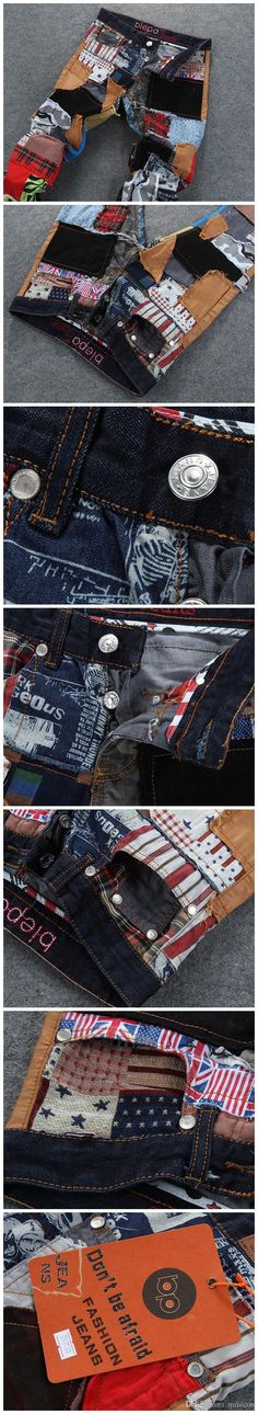 Wholesale cheap pants with pockets online, Patches   - Find best  2015 New high fashion designer spliced patchwork patched classic jeans slim fit men motorcycle pants with pockets at discount prices from Chinese Jeans supplier - minicon on DHgate.com.