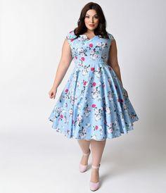 Hell Bunny Plus Size 1950s Style Pale Blue Floral Cap Sleeve Belinda Swing Dress