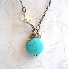 Turquoise Necklace - brass bird charm by botanicalbird on Etsy https://www.etsy.com/listing/52671888/turquoise-necklace-brass-bird-charm