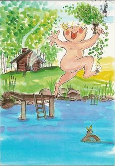 Postcrossing postcard from Finland Finnish Sauna, Chalkboard Drawings, The Golden Years, Crazy Day, Watercolor Drawing, Digi Stamps, Whimsical Art, Painting For Kids, Various Artists