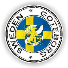 Sweden Goteborg Seal Sticker Round Flag for Laptop Book Fridge Guitar Motorcycle Helmet ToolBox Door Motorcycle Helmet Decals, Cd Diy, Flags Of The World, Car Stickers, World Traveler, Tool Box, Sweden, Logos, Laptop