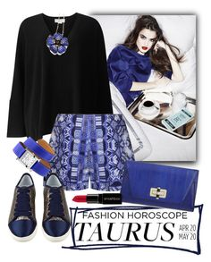 """""""Taurus, in Cobalt, in March"""" by maxfield ❤ liked on Polyvore featuring Amanda Wakeley, Ally Fashion, Lanvin, Hermès, Diane Von Furstenberg and Smashbox"""