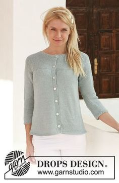 DROPS jacket with 3/4 sleeves in Alpaca. Size S - XXXL. Free pattern by DROPS Design.