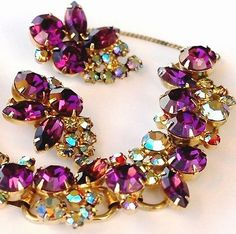 Juliana D&E Purple Amethyst AB Rhinestone Bracelet Earring Set